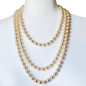 WHBM Multi-Row Champagne Pearl Statement Necklace